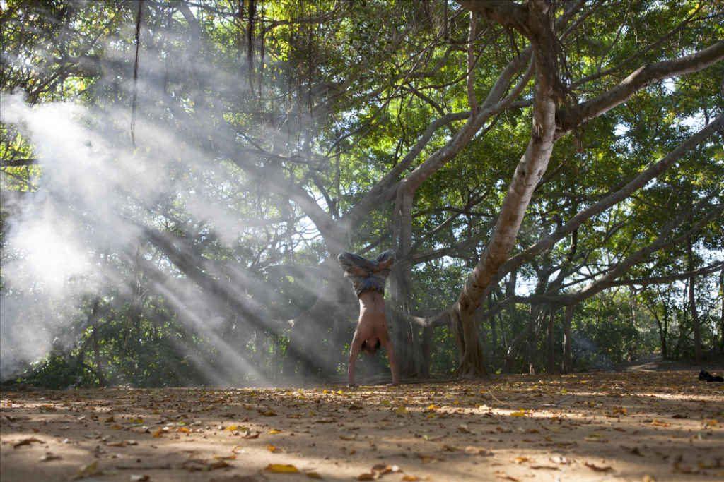 Mika de Brito handstand at Ulpotha yoga retreat Sri Lanka