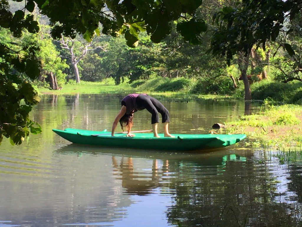 Lisa Garratt wheel pose (Chakrasana) at Ulpotha Yoga retreat