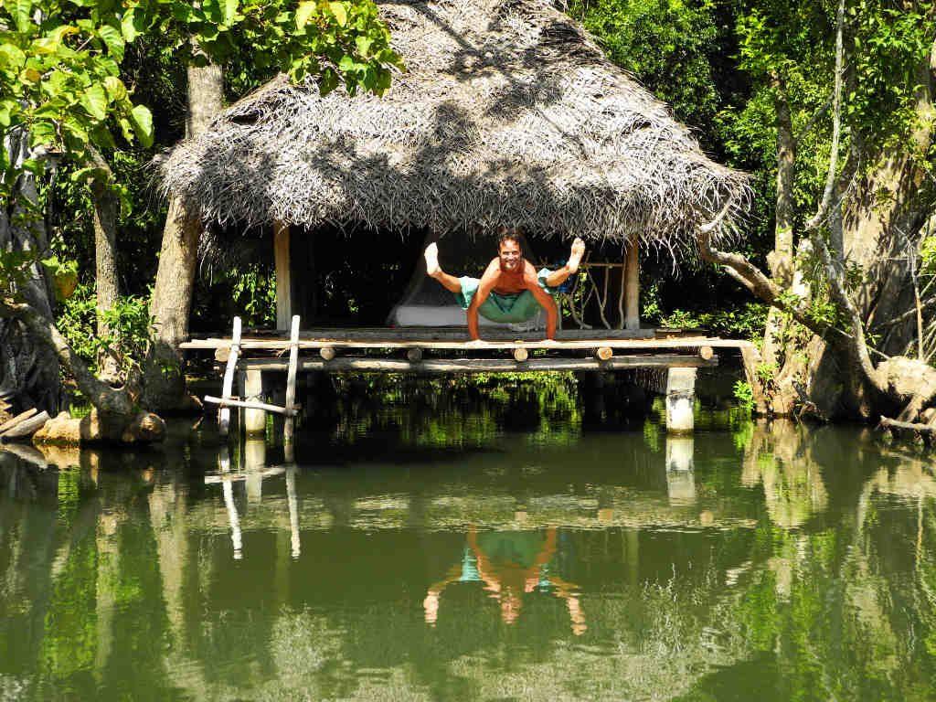 Wade Gotwals Firefly Pose at Ulpotha yoga retreat Sri Lanka
