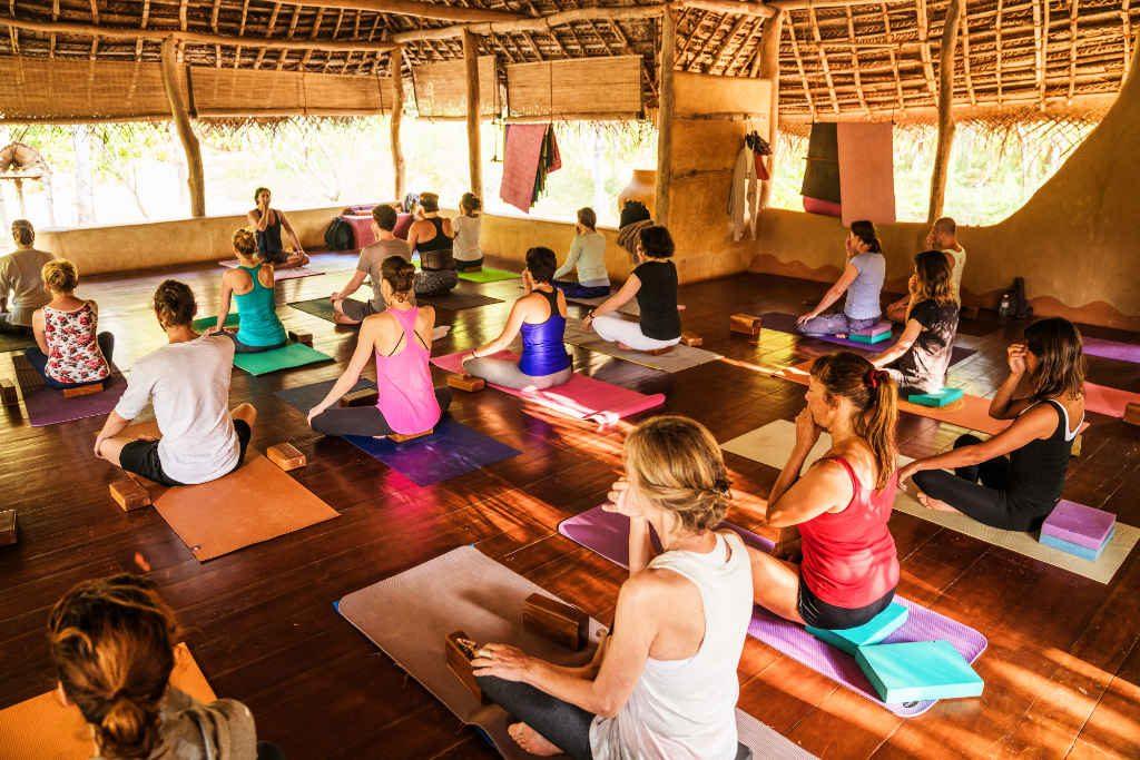 Yoga breathing at the best yoga retreat in Sri lanka