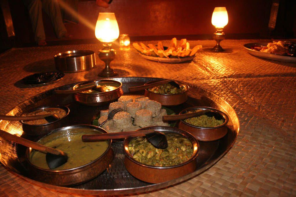 Ulpotha dinner by lamplight