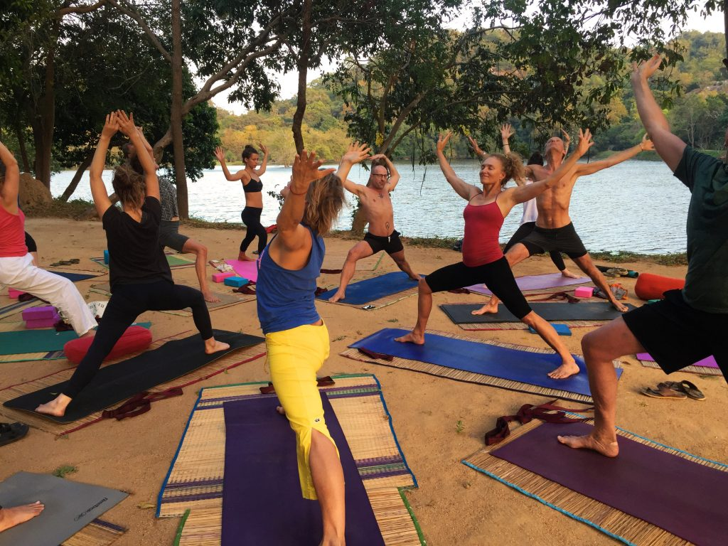 Outdoor yoga at the best yoga retreat in Sri Lanka
